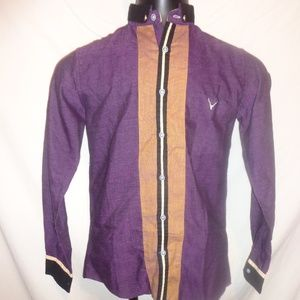 Wrangler Mens Purple Button Down Shirt Size Small